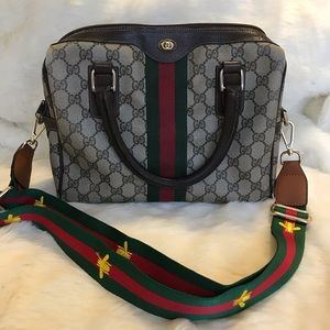 ef71d2d7379 Gucci. Gucci Vintage Boston Bag with red green webbing